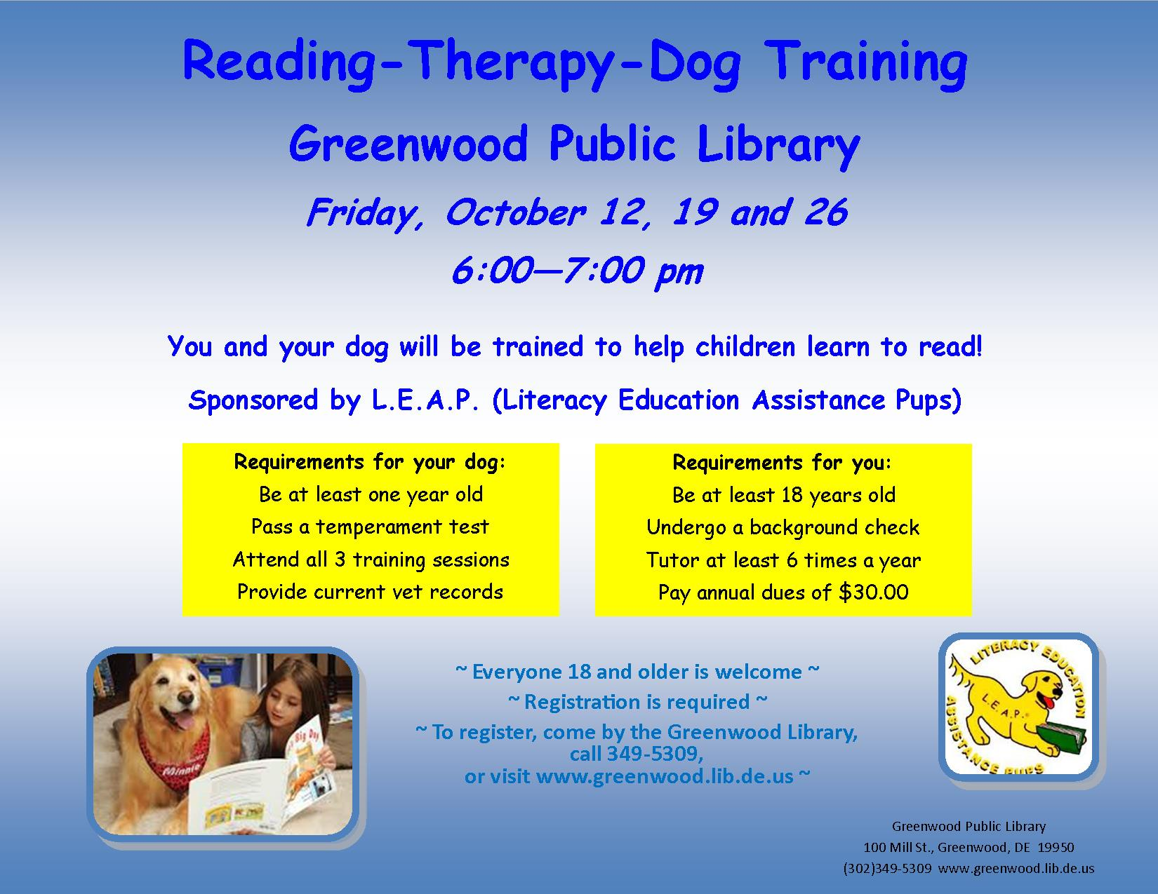 LEAP Therapy Dog Training