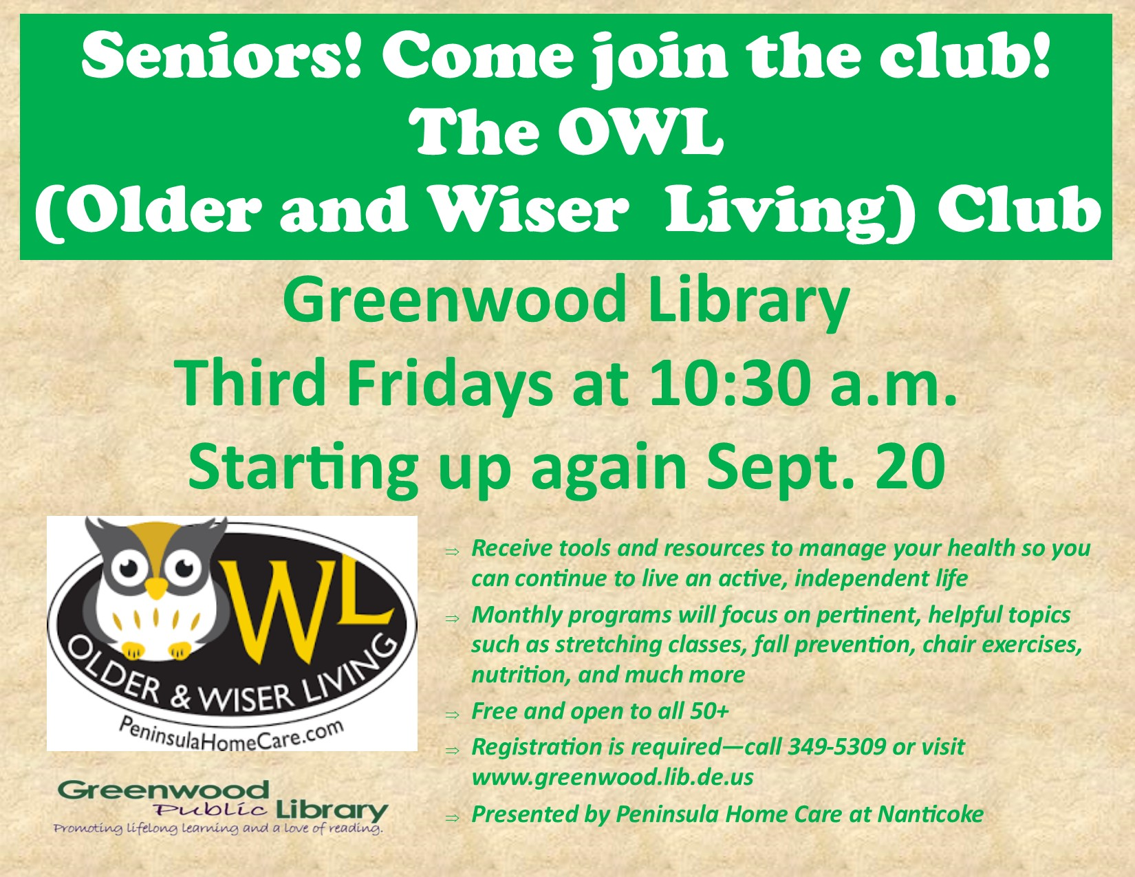 OWL (Older & Wiser Living) Program for Seniors 50+ from Peninsula Home Care