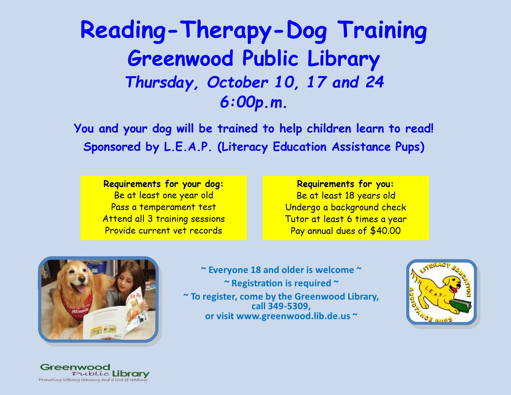 Reading Therapy Dog Training with Literacy Education Assistance Pups (L.E.A.P.)