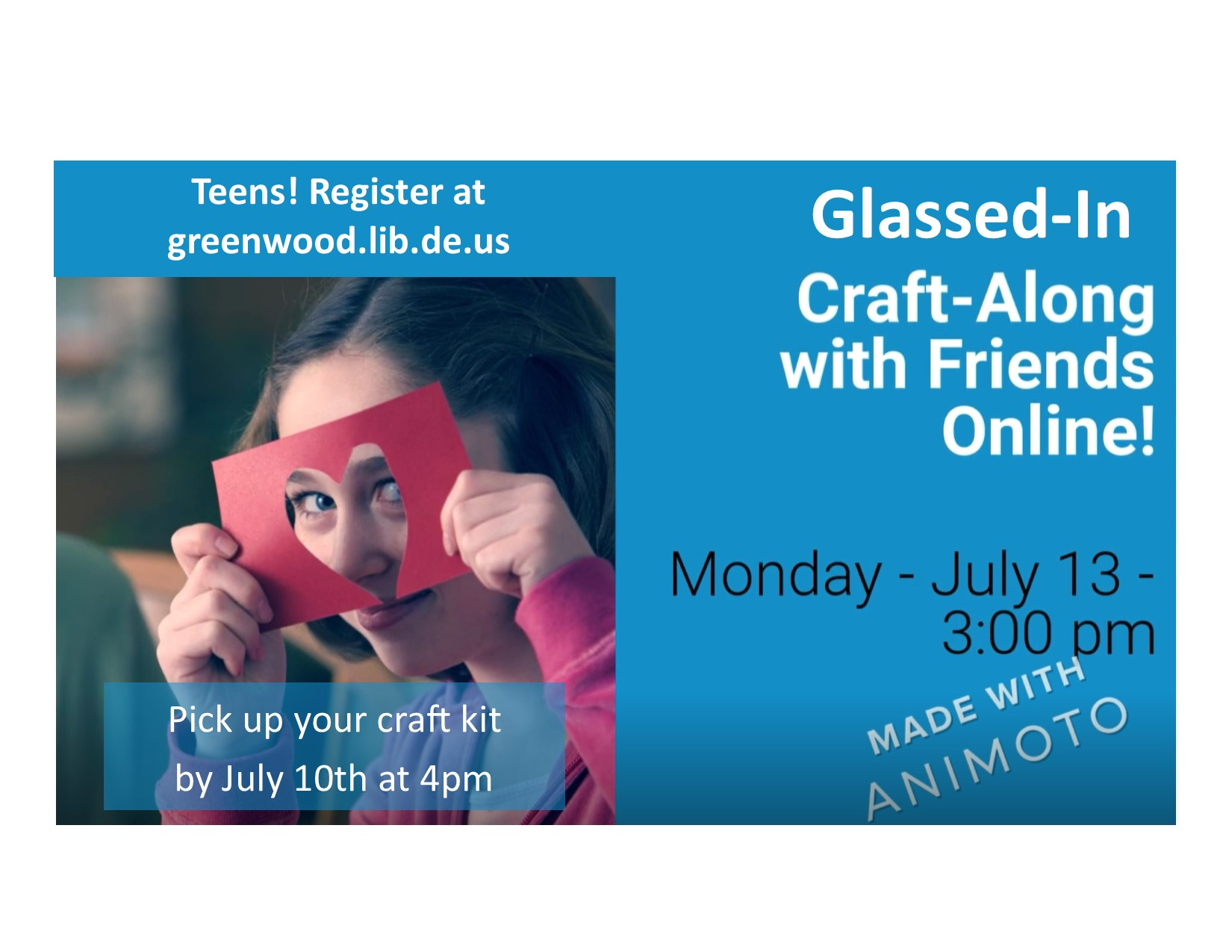 Greenwood Library Hosts Glassed-In Craft Along