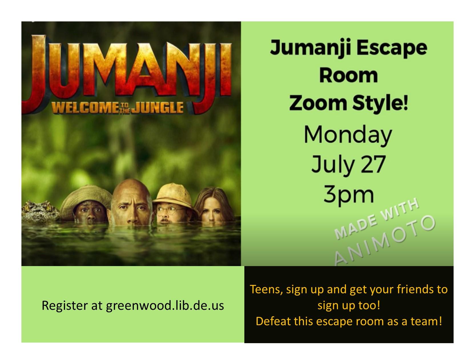 Greenwood Library Hosts Virtual Jumanji Escape Room