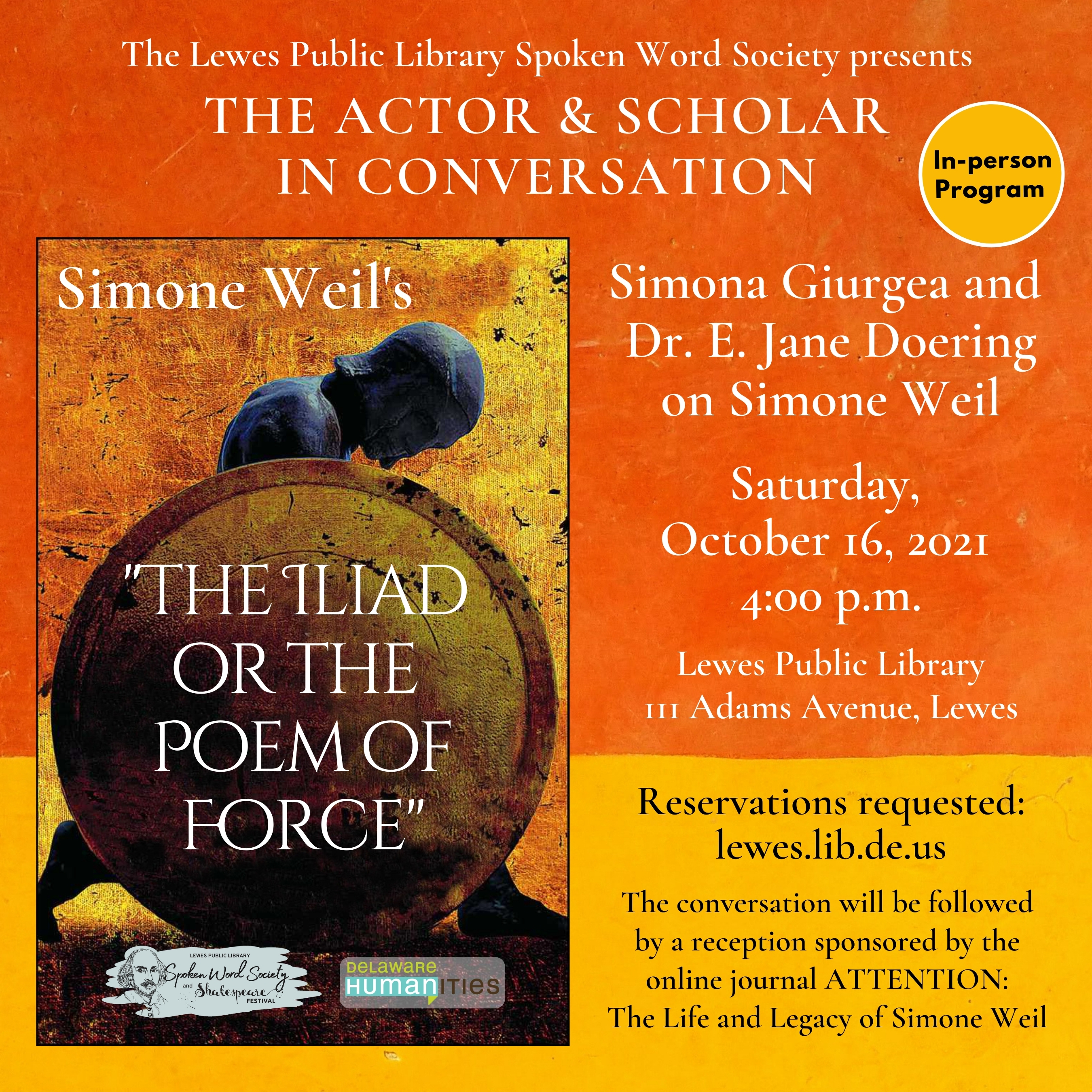5th Annual Shakespeare Festival: The Actor and Scholar in Conversation: Simona Giurgea and E. Jane Doering on Simone Weil @ Lewes Public Library