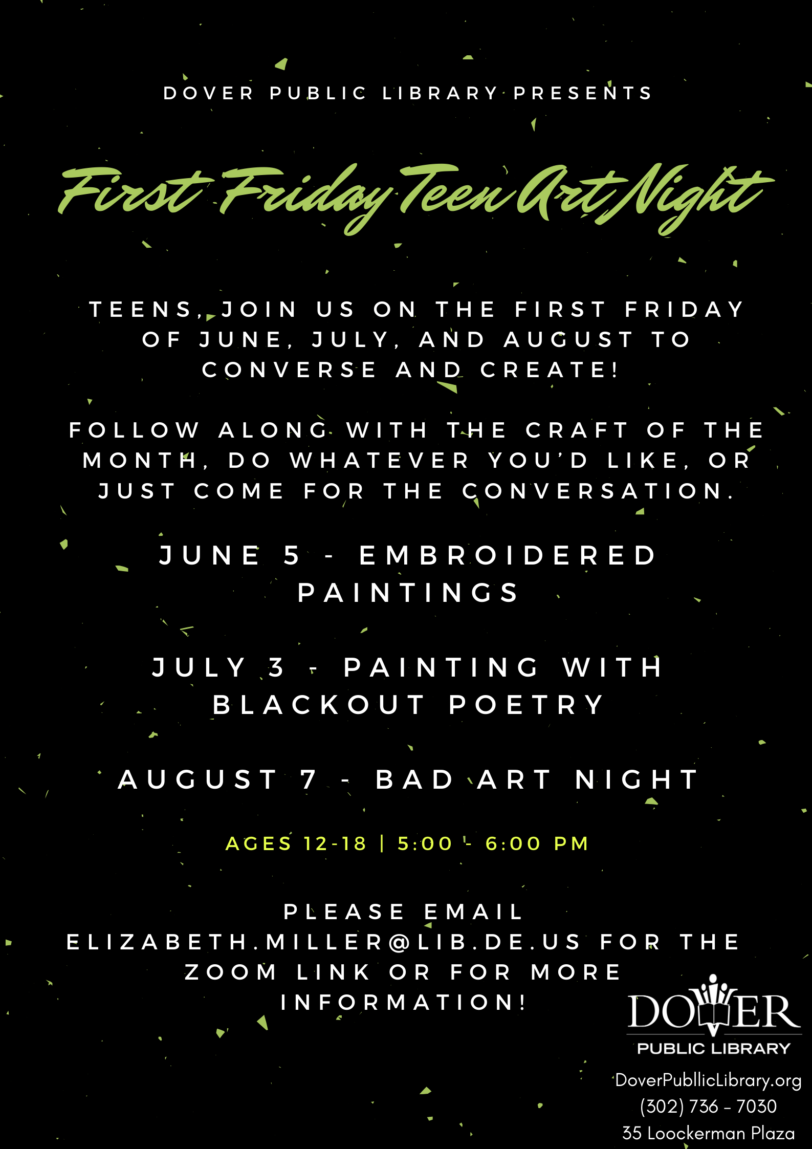 CANCELLED - First Friday Teen Art Night with the Dover Public Library
