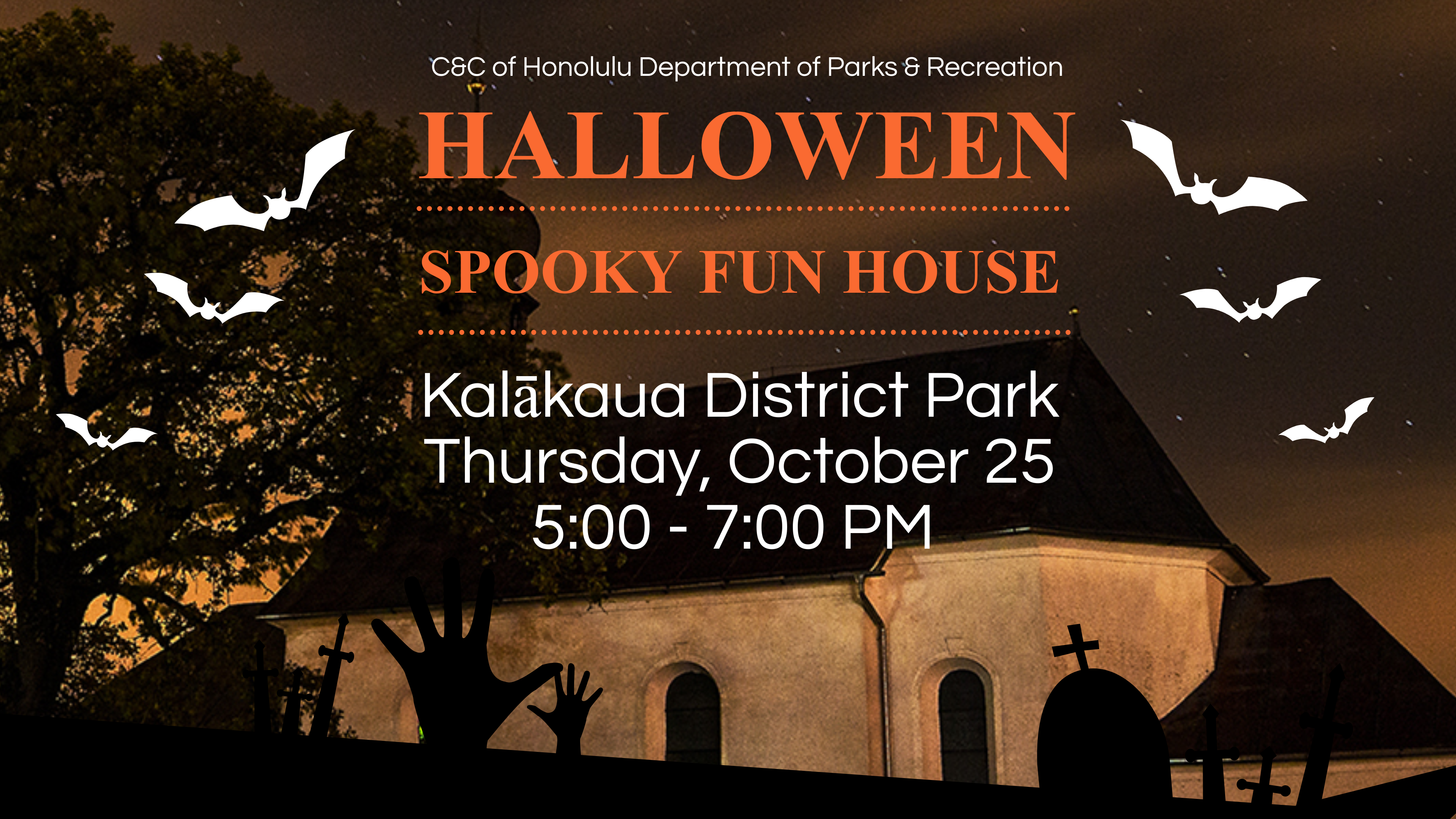 50 Acts of Service: Halloween Spooky Fun House at Kalākaua District Park!