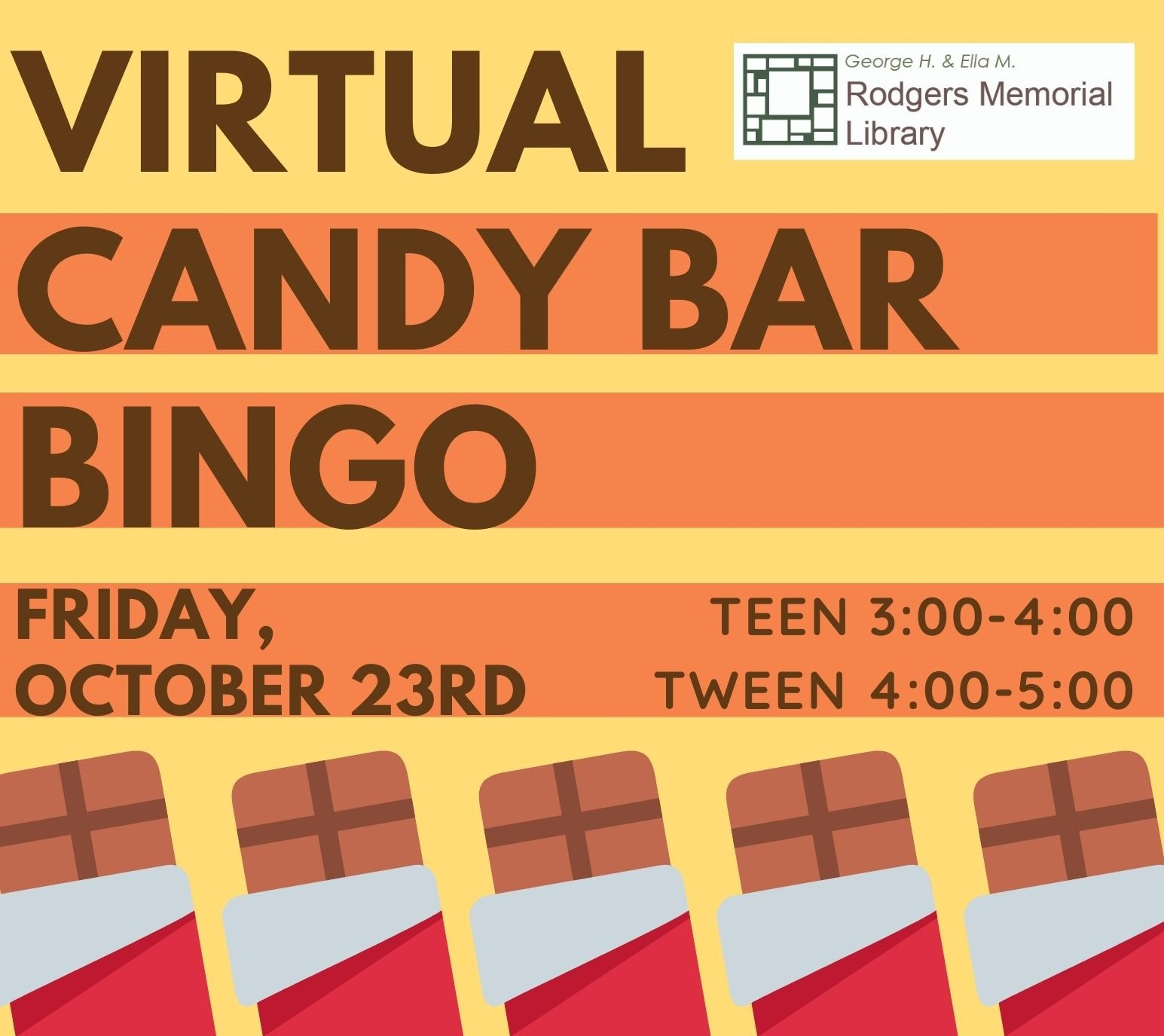 Virtual TEEN Candy Bar BINGO