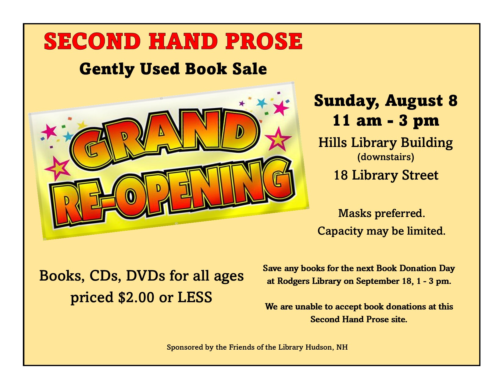 Second Hand Prose: Gently Used Book Sale