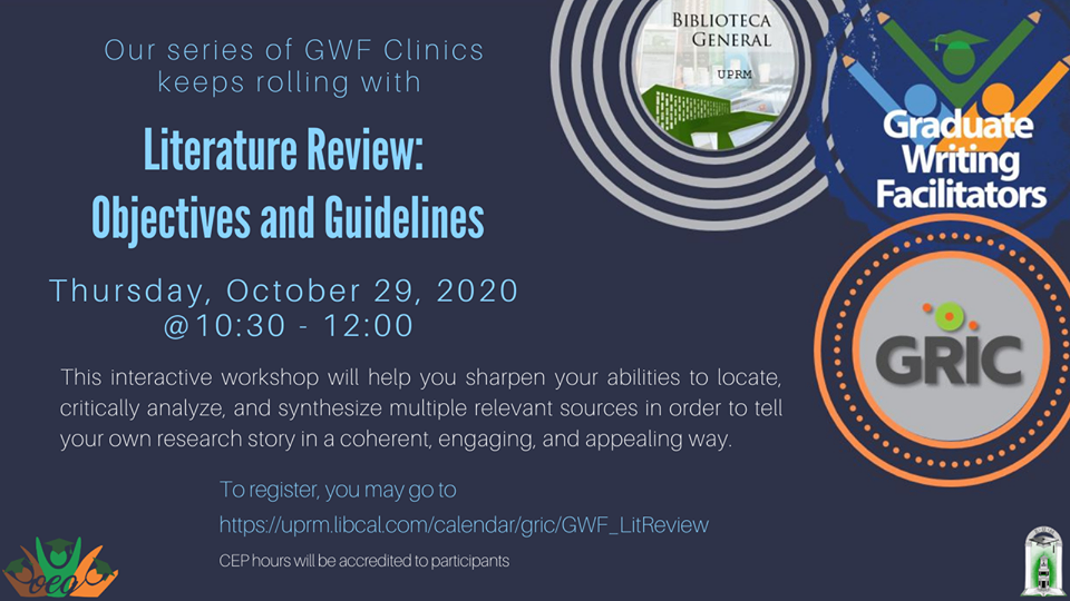 Literature Review: Objectives and Guidelines (GWF writing clinic)