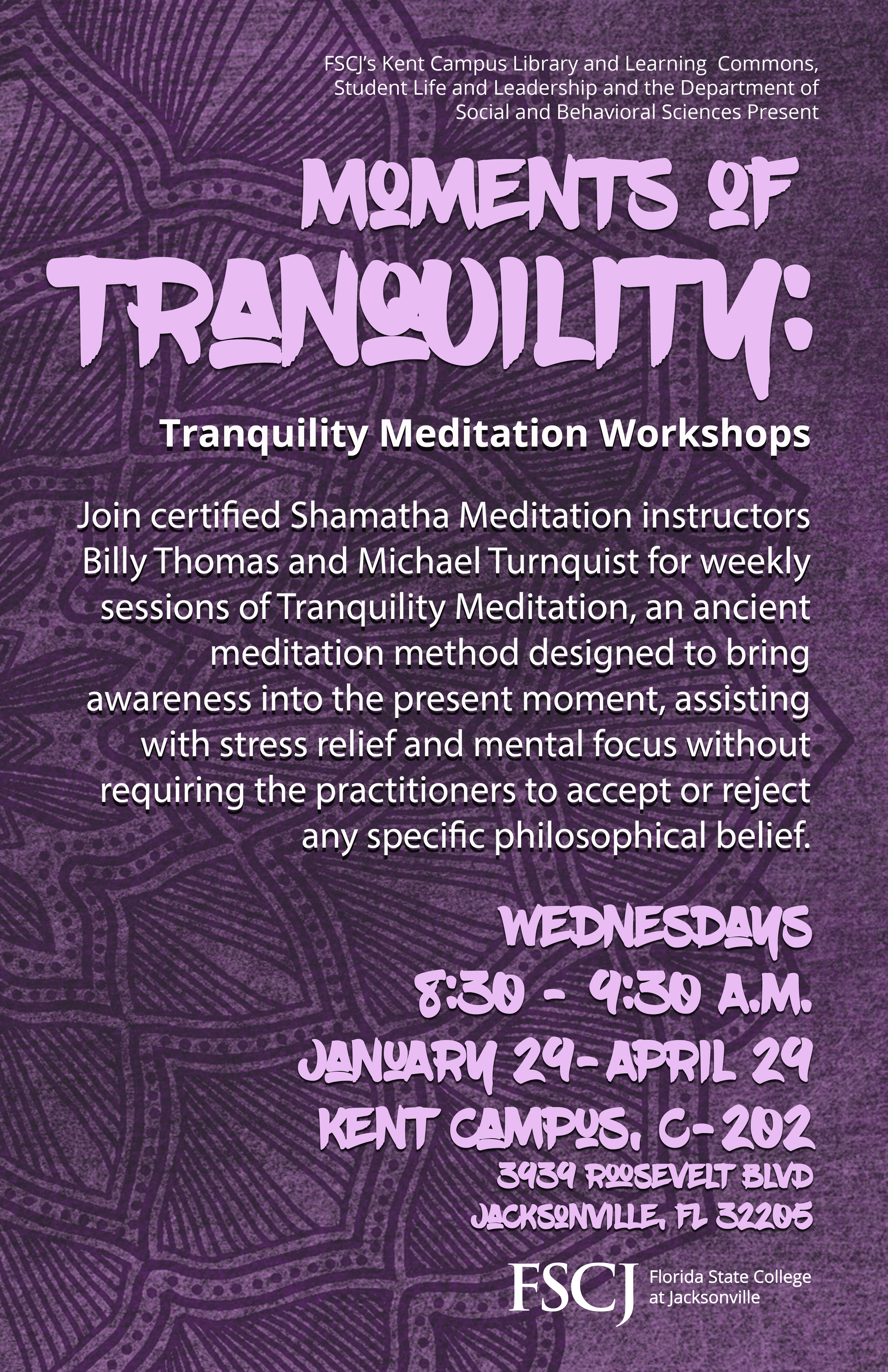 CANCELED: Moments of Tranquility: A Series of Meditation Workshops