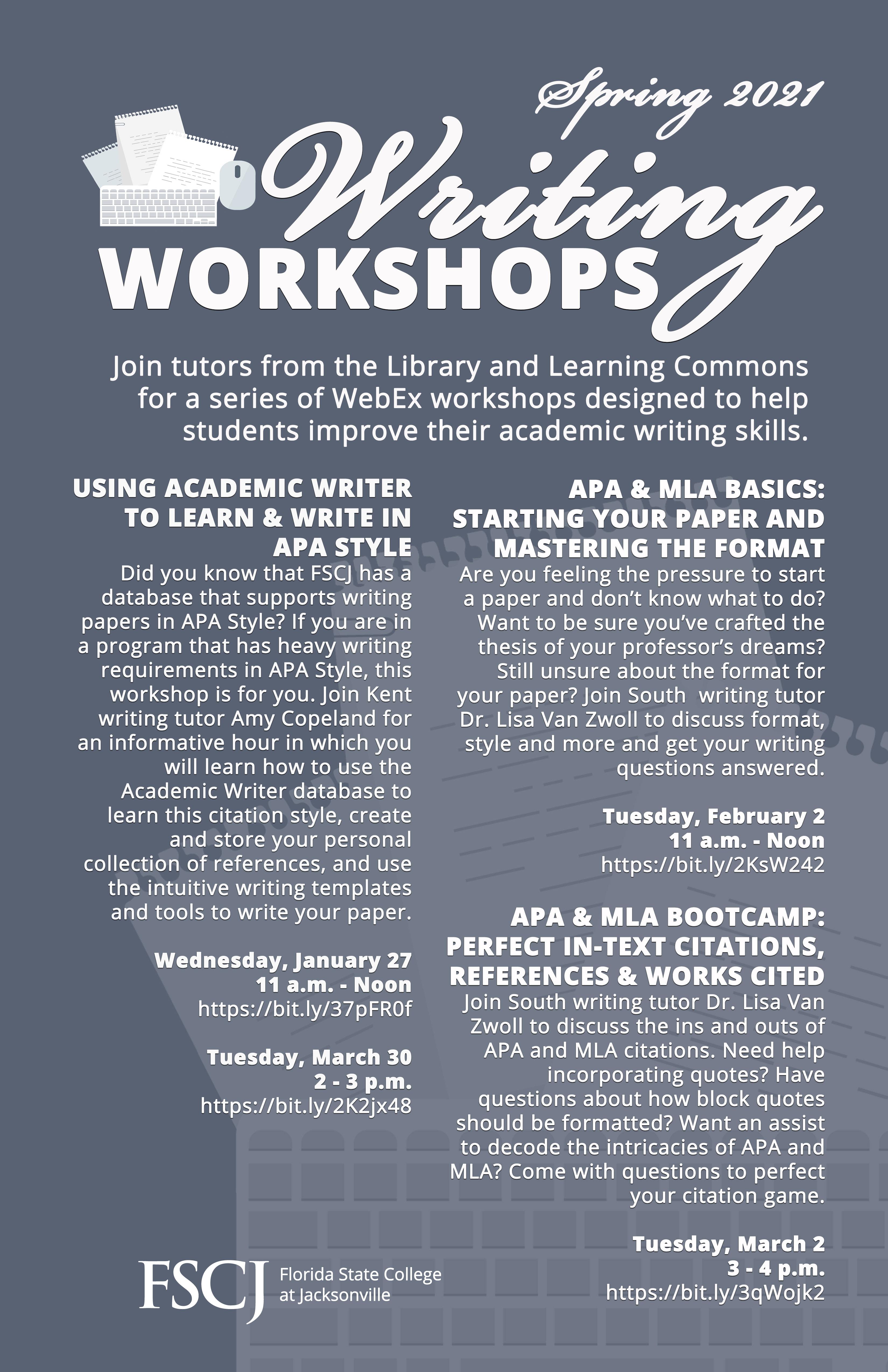 WRITING WORKSHOPS: APA & MLA Basics