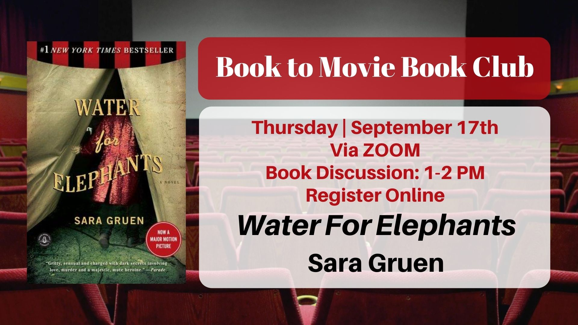 Book to Movie Book Club: Water for Elephants by Sara Gruen