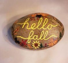 Autumn Art Series: Hello Fall Rock Painting