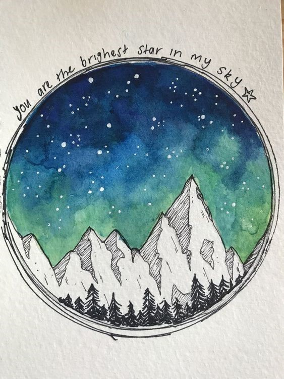 Autumn Art Series: Watercolor and Ink Night Sky Drawing