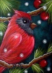 Autumn Art Series - Winter Cardinal Painting