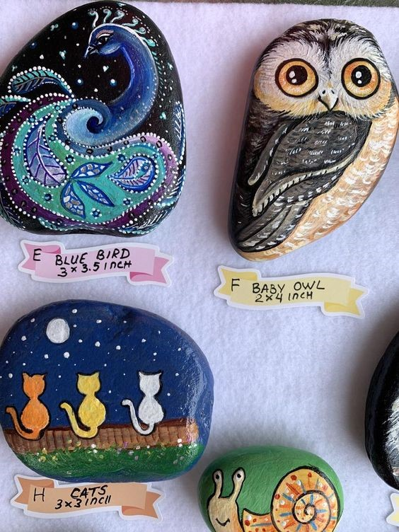 Winter Owl Rock Painting
