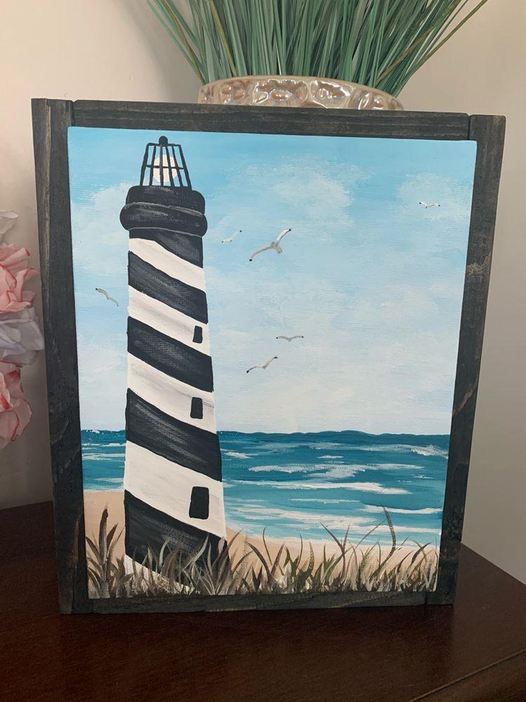Lighthouse on the Beach Painting