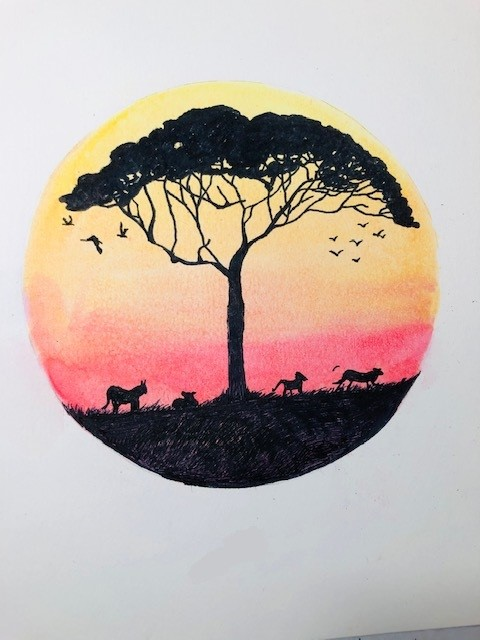 Activities in the Morning:  Watercolor and Pen African Animals Silhouette