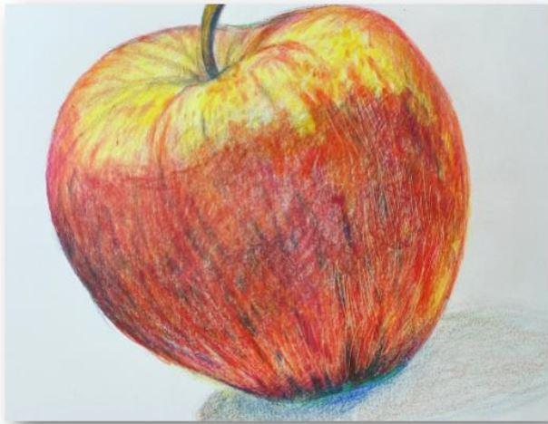 VIRTUAL ART: COLORED PENCIL APPLE