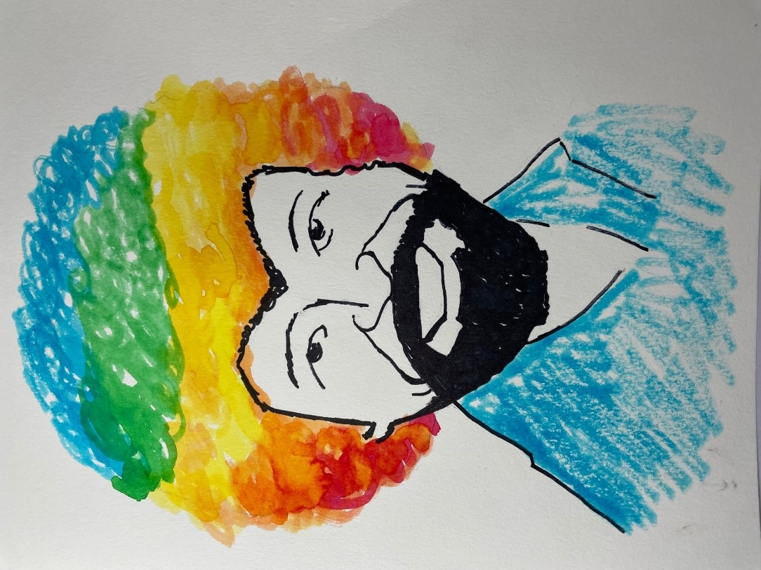 Whimsical Art Series: Watercolor Rainbow Haired Bob Ross