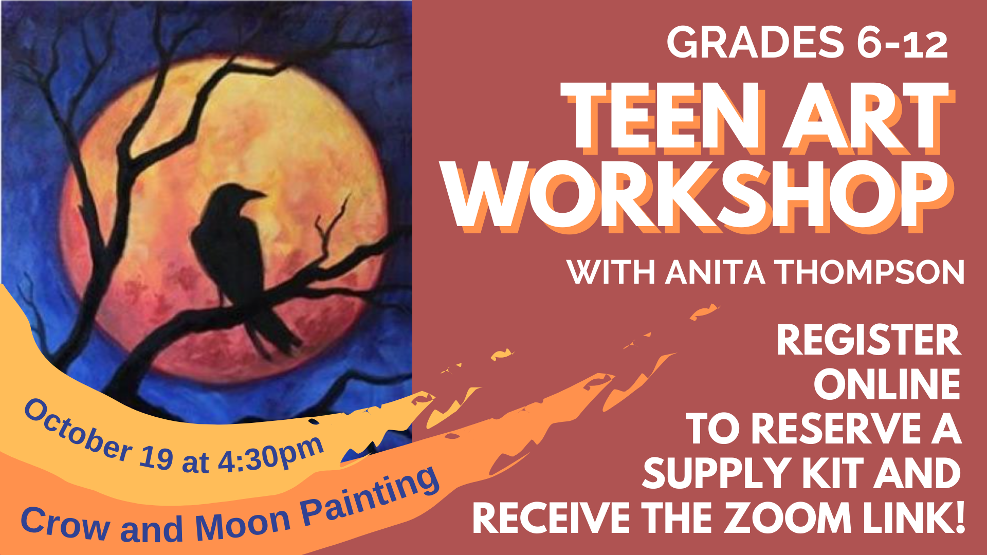 Teen Art Workshop: Raven and Moon Painting