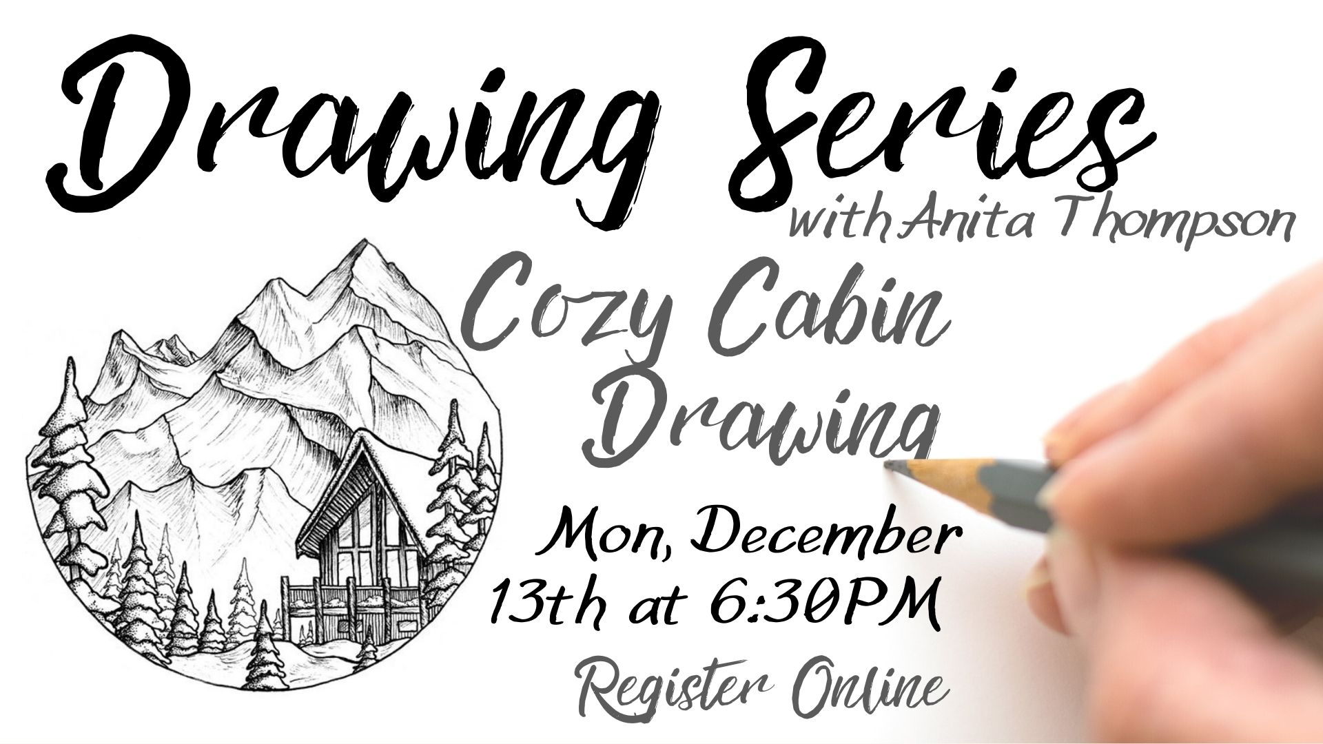 Drawing Series: Cozy Cabin Ink Drawing