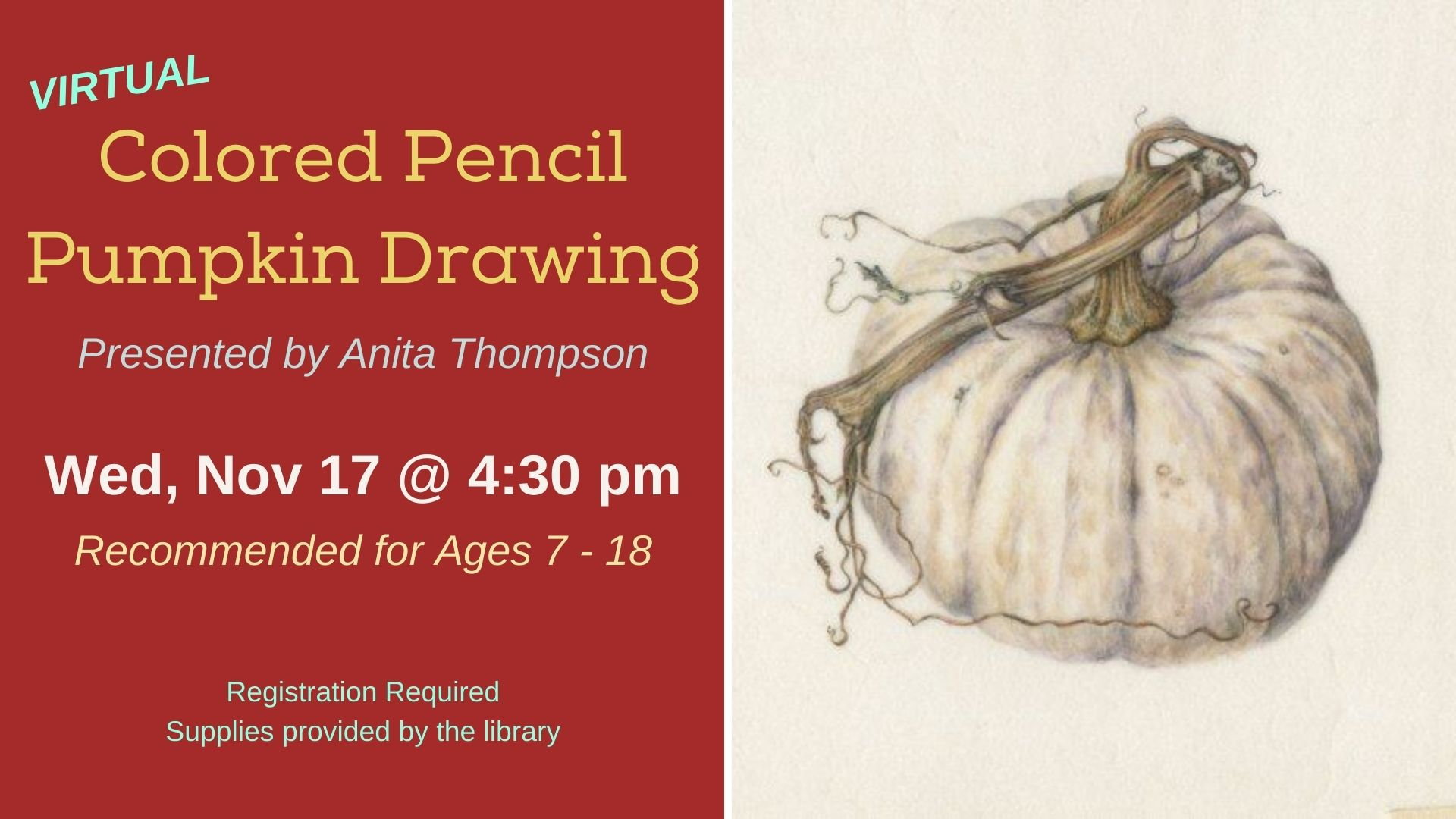 Colored Pencil Pumpkin Drawing | Ages 7 - 18