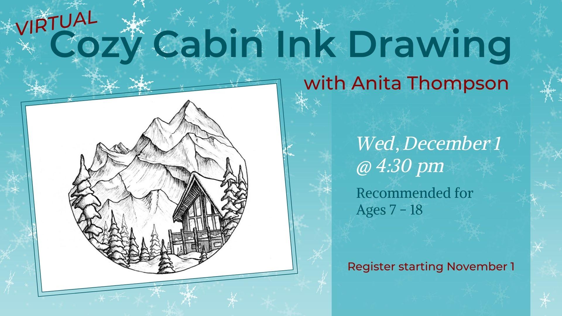 Cozy Cabin Ink Drawing