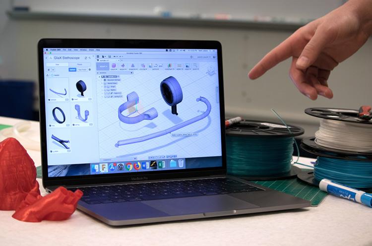 Computer showing 3D design software