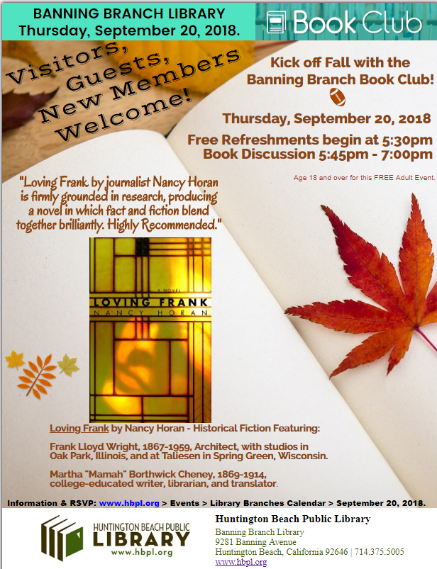 Banning Branch Book Club (Loving Frank by Nancy Horan)