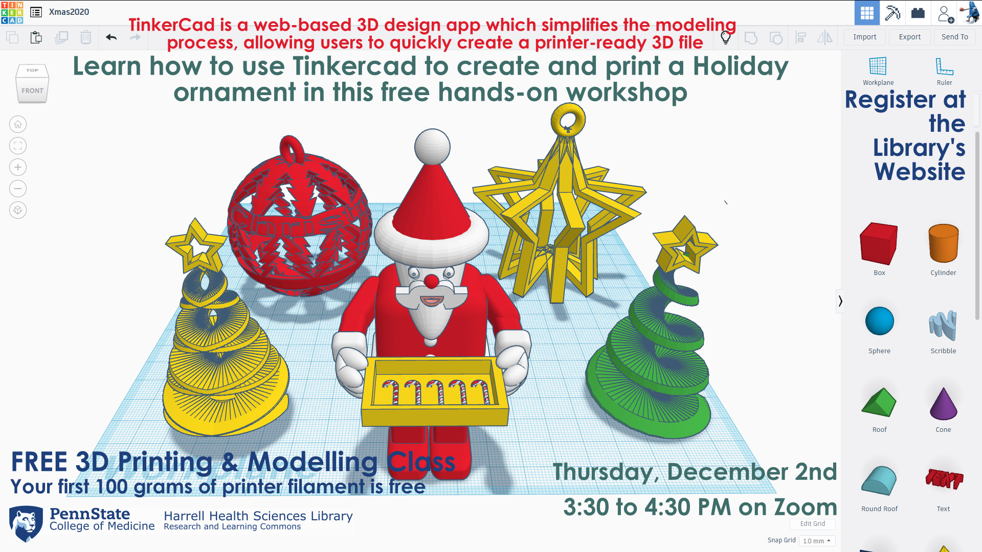 Tinkercad 3D Printing Holiday Ornament Workshop