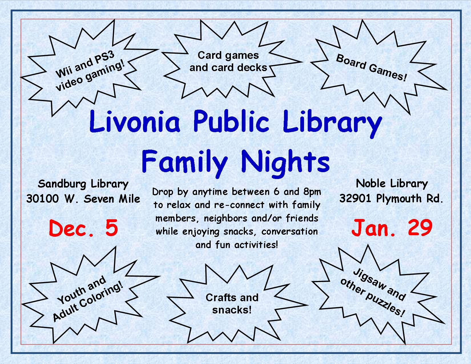 Livonia Public Library Family Night