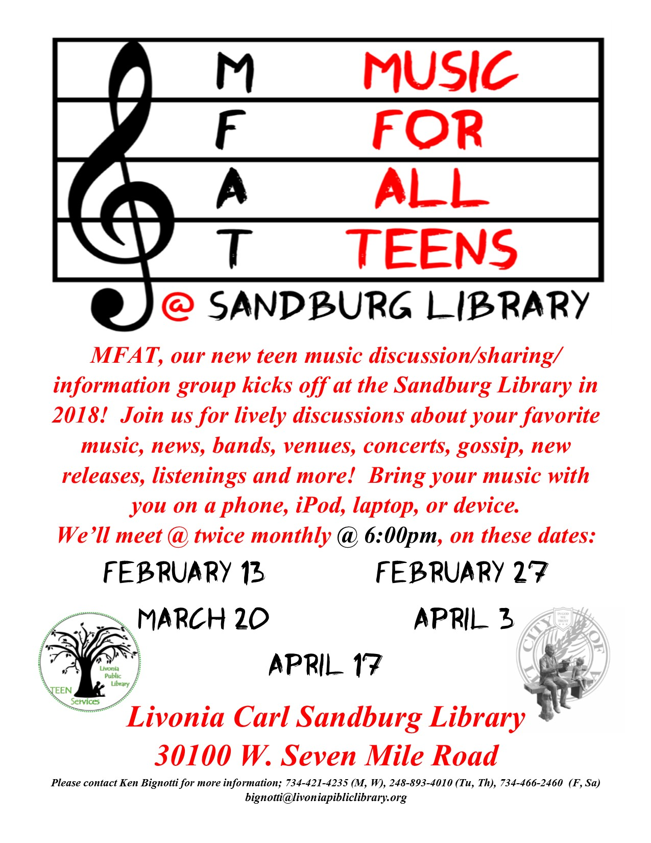 MFAT! Music for all Teens Music Club @ Sandburg Library