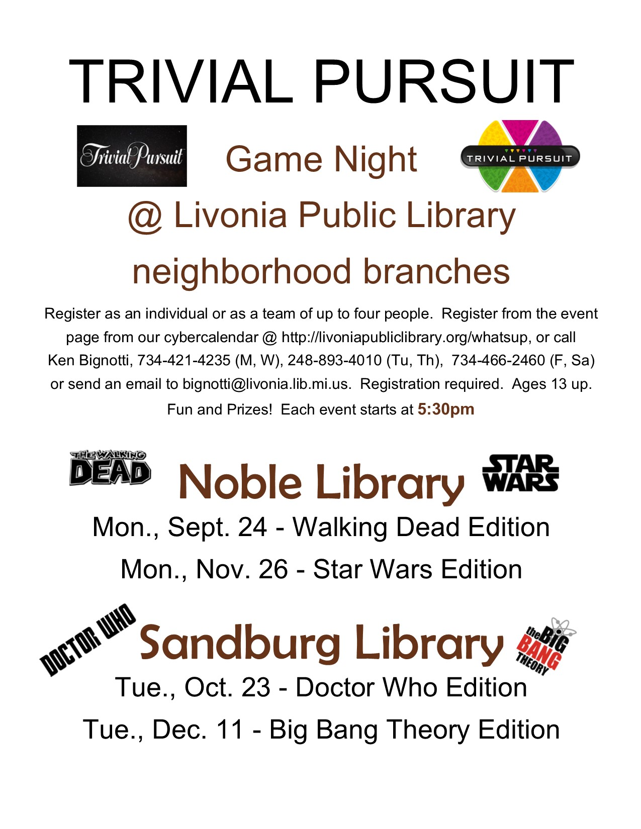 Trivial Pursuit Night at Livonia Neighborhood branches, Doctor Who Edition