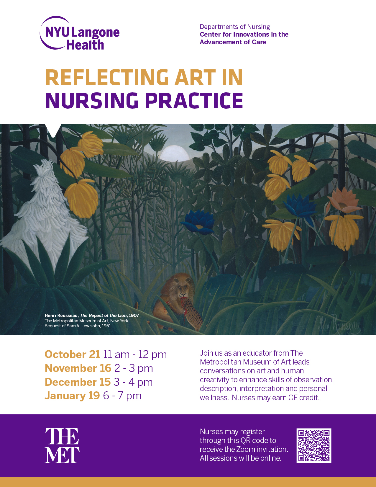 Reflecting Art in Nursing Practice (with The MET) by ZOOM