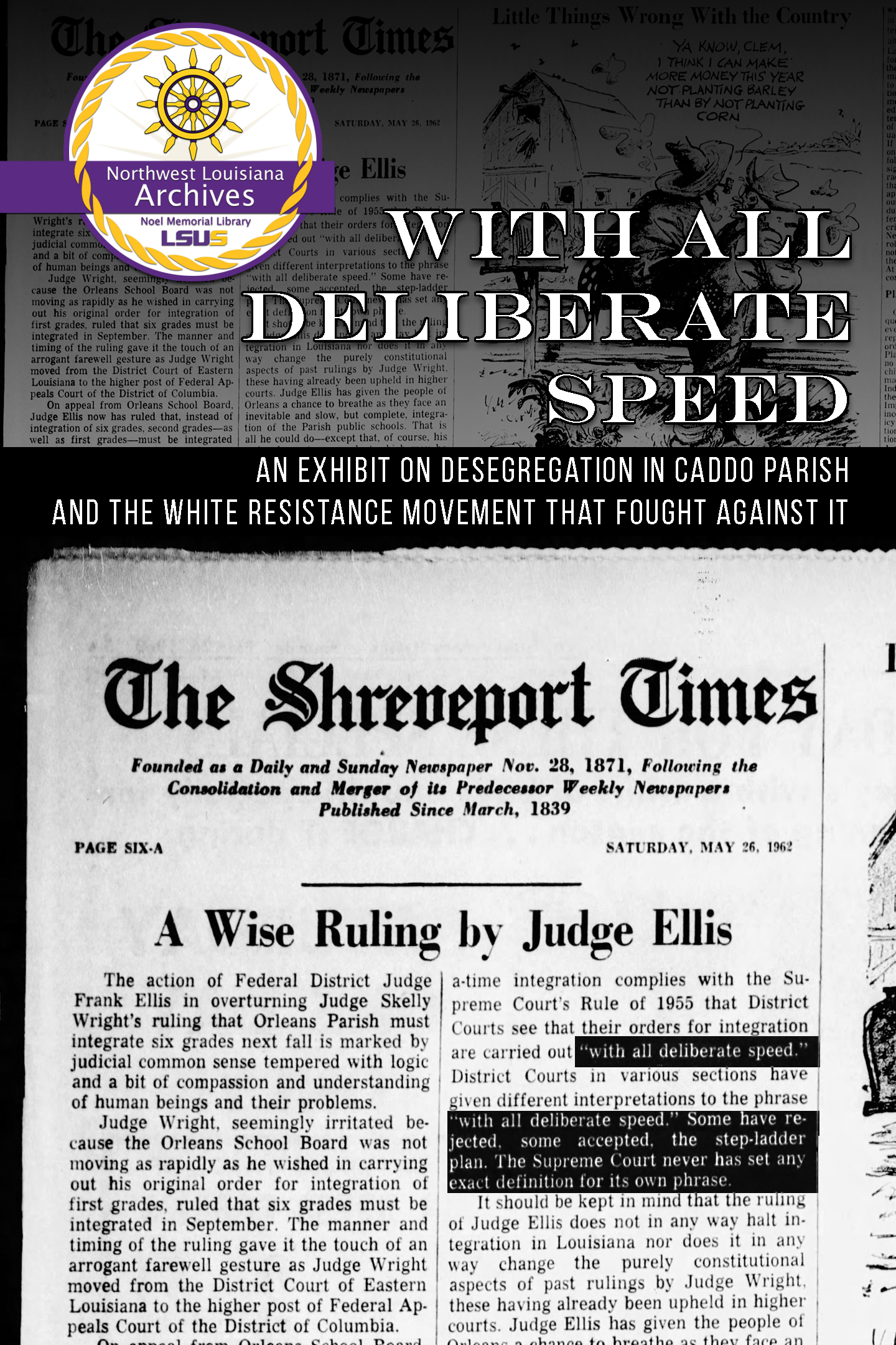 """With All Due Speed"""" Brown v. Board of Education and White Resistance in Northwest Louisiana hosted by the NWLA Archives"""