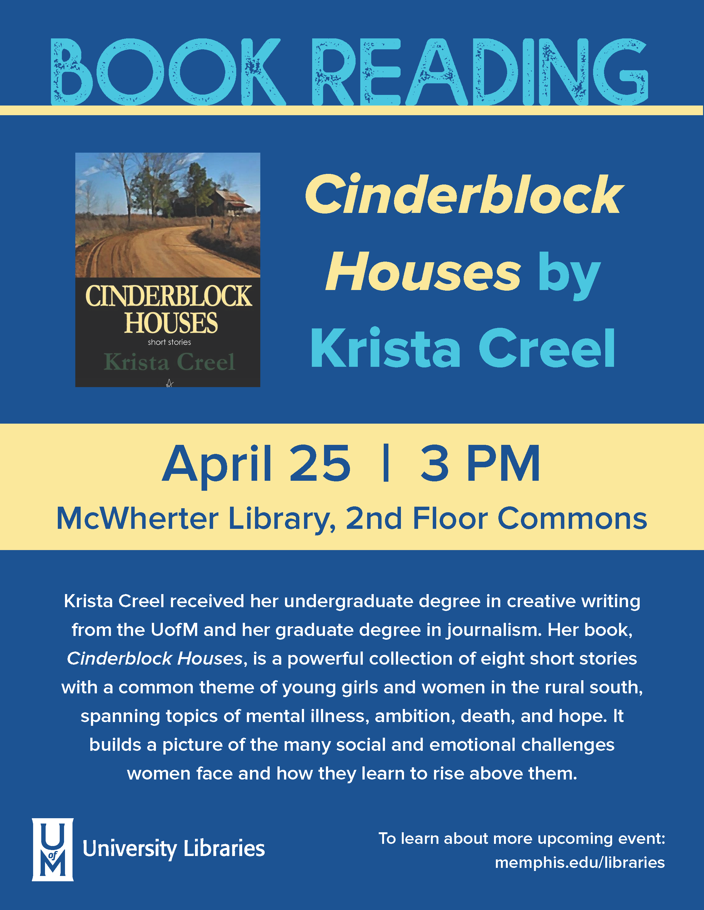 Book Reading: Cinderblock Houses by Krista Creel
