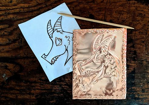 Medieval DIY: Embossed Metal Dragon