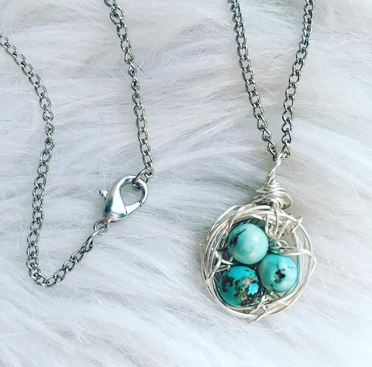 Adult Craft: Wire wrapped bird's nest pendant