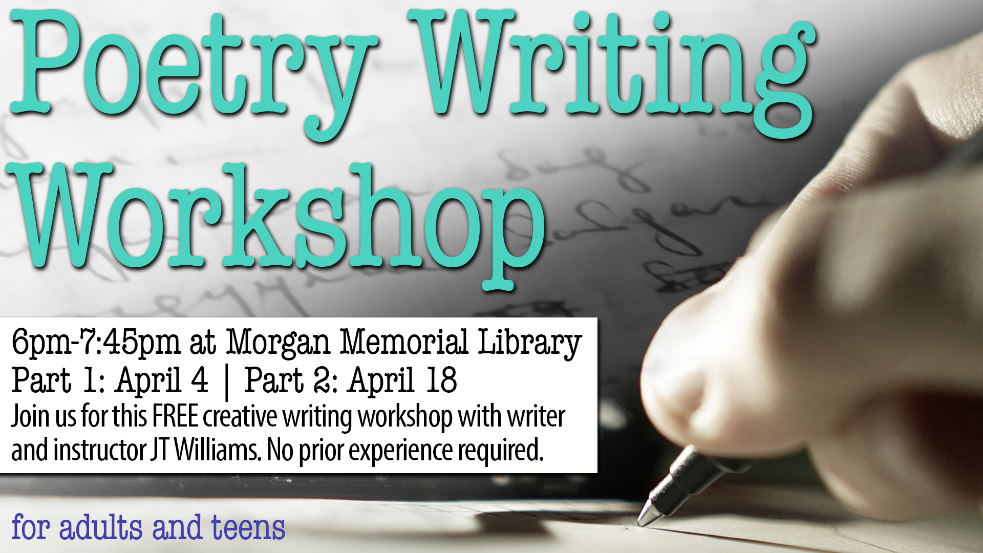 Tidewater Reads Poetry Writing Workshop