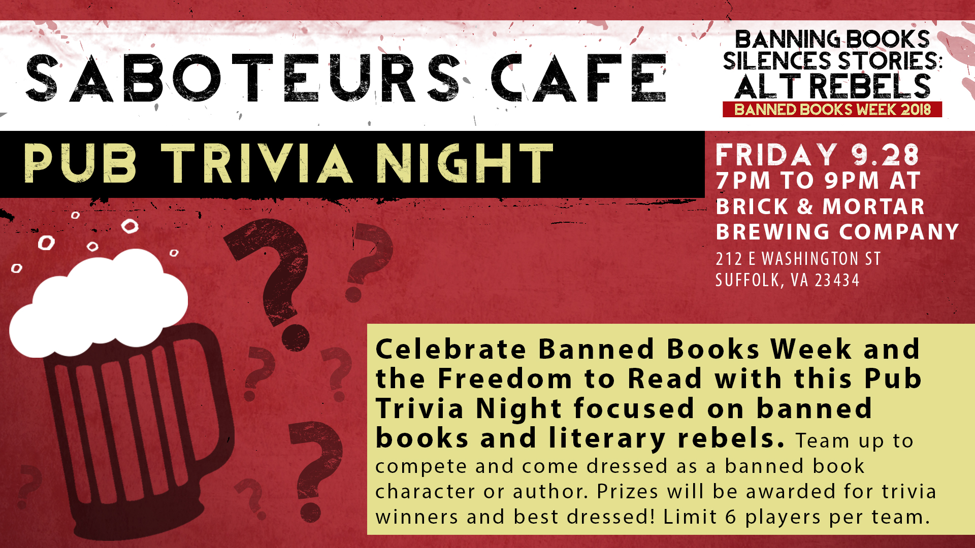 Saboteurs Café a Pub Trivia Night: Literary Rebels