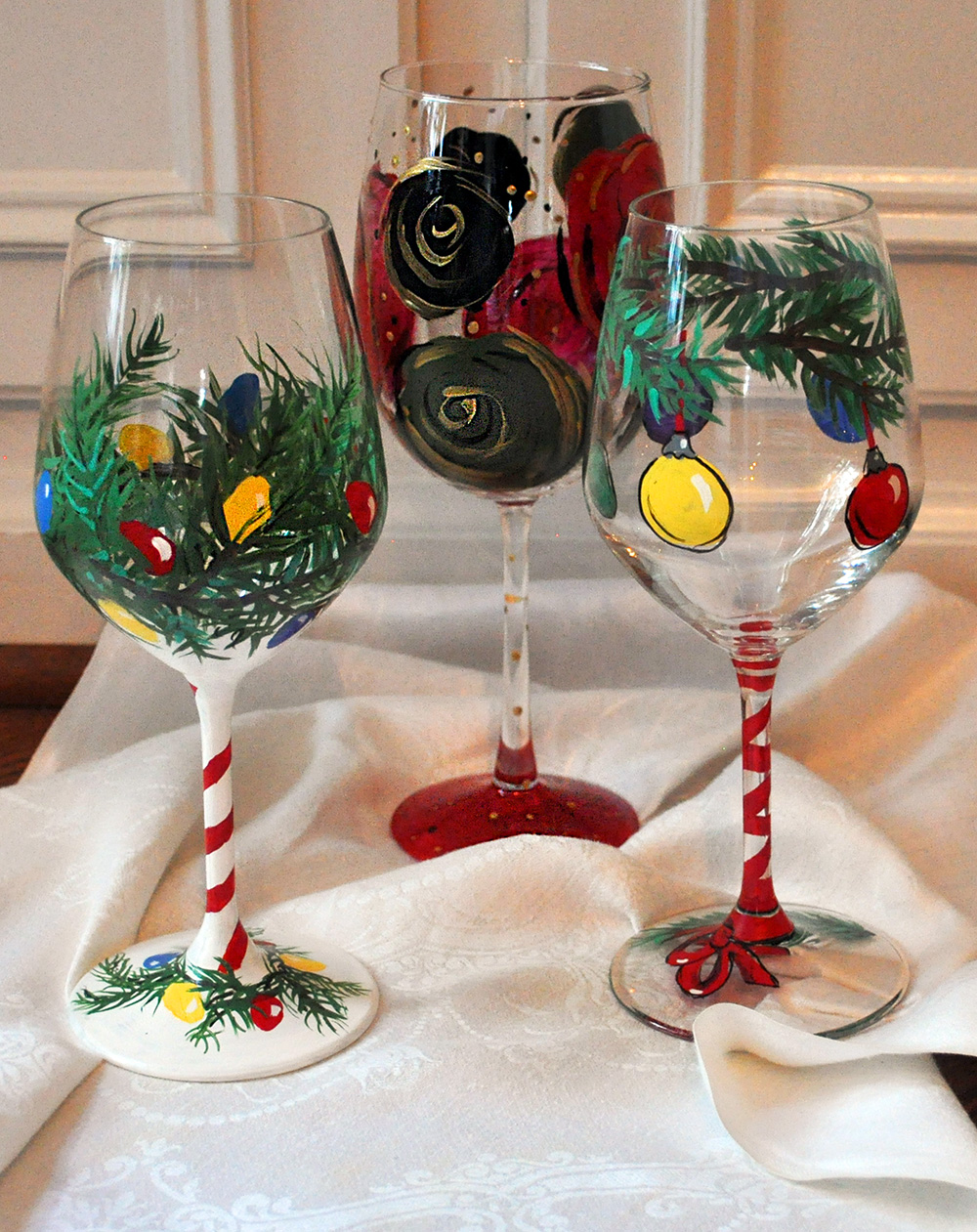 Painting Wine Glasses for a Holiday Celebration!