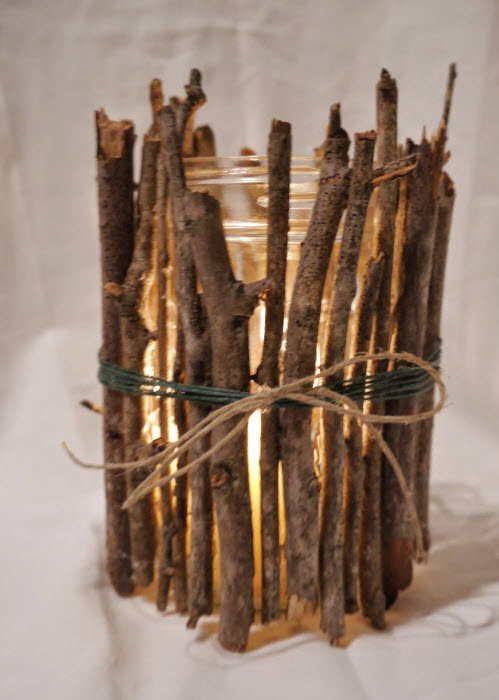 Create a Rustic Winter Craft: Twig Covered Light-Up Jar