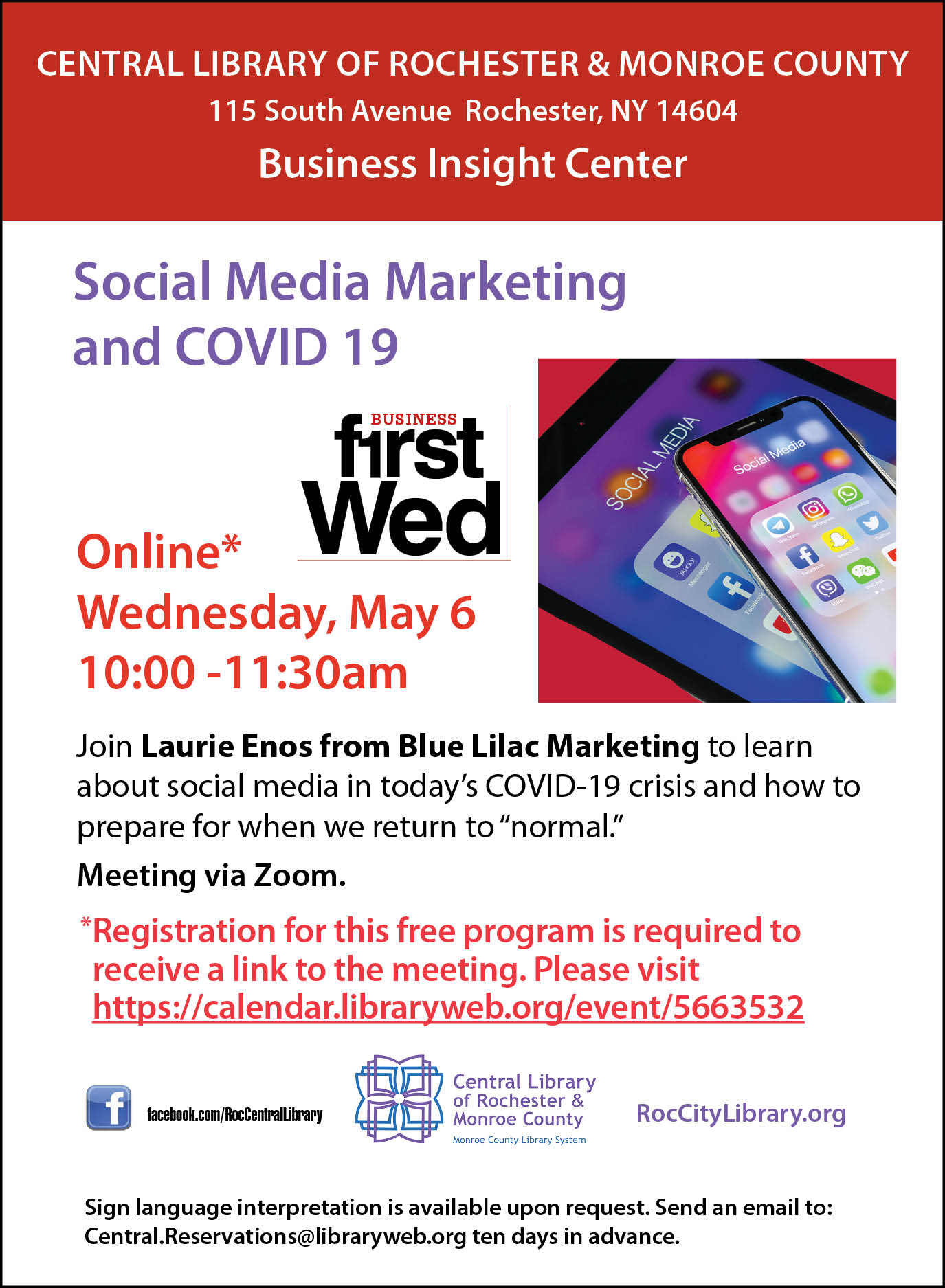 First Wednesdays for Small Business - Social Media Marketing During COVID-19