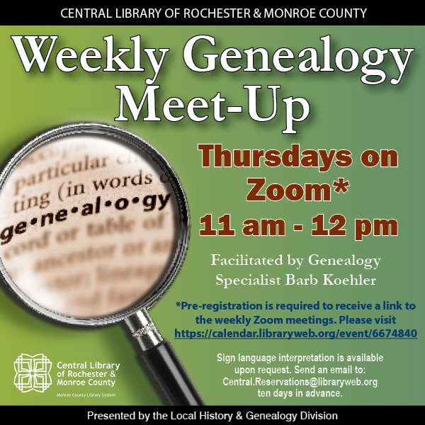Weekly Genealogy Meet-Up (Online)