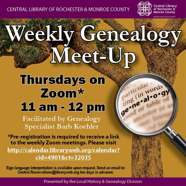 Weekly Genealogy Meet-Up (Online)
