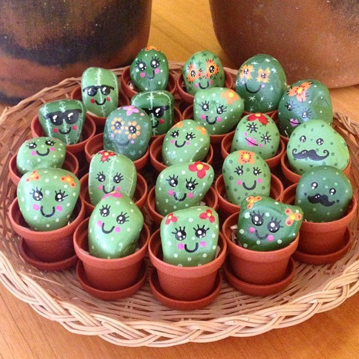 Tween Craft:Stone Cactus Painting