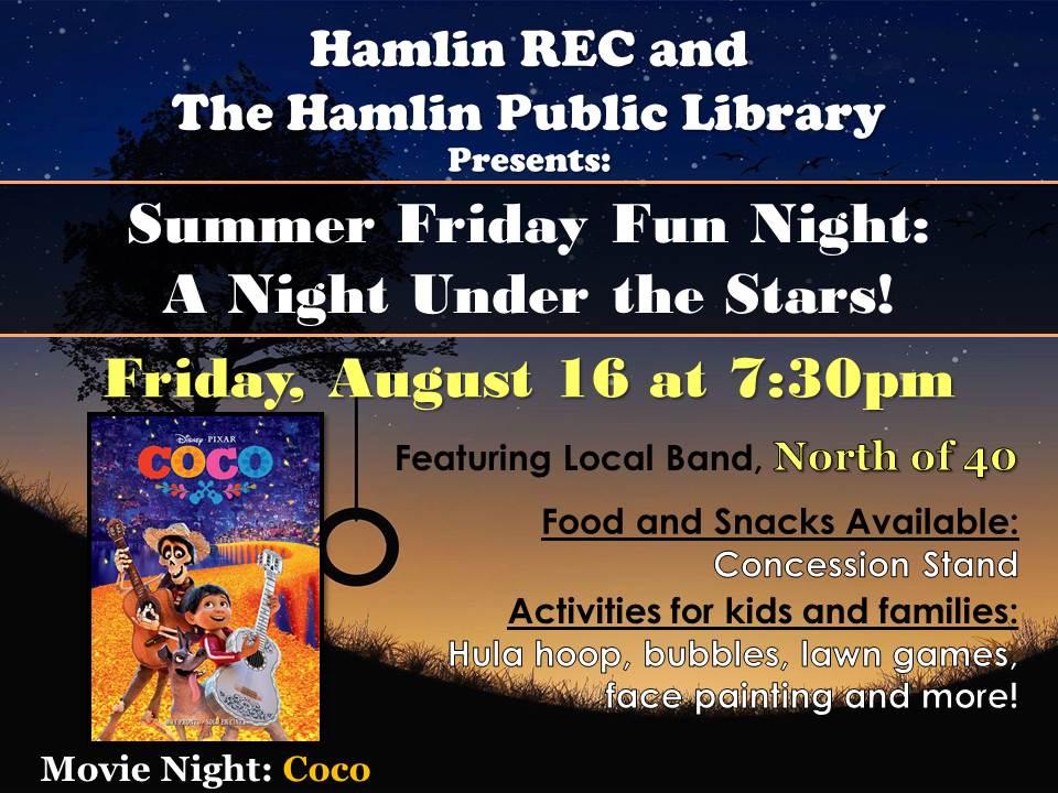 Library & Hamlin Recreation Center Summer Fun Night