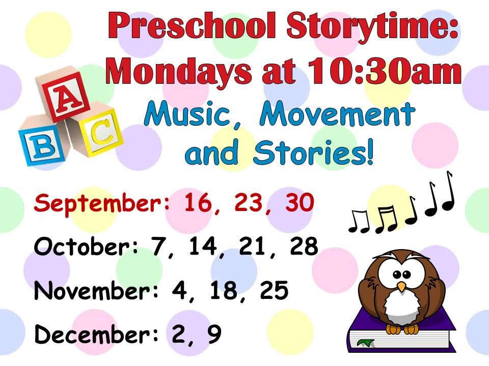 Preschool Story time for ages 2-5