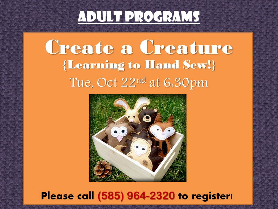 Create a Creature (learning to hand sew)