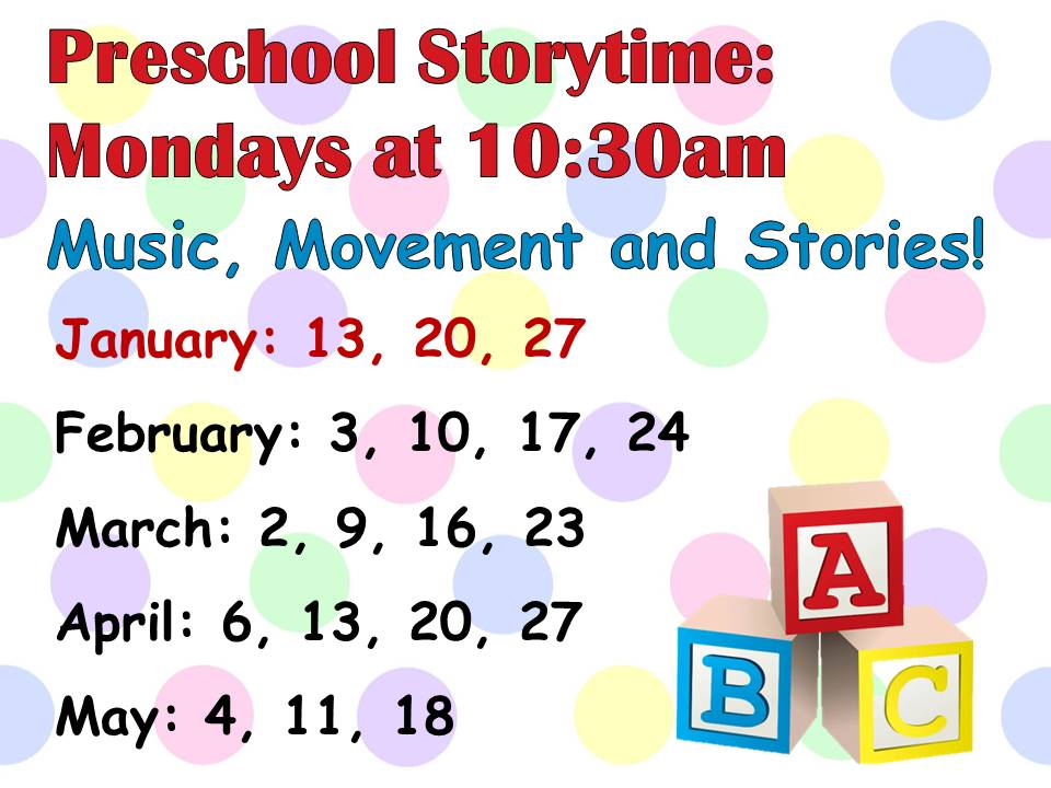 Preschool Story time for ages 2-5 - Music, Movement & Stories!