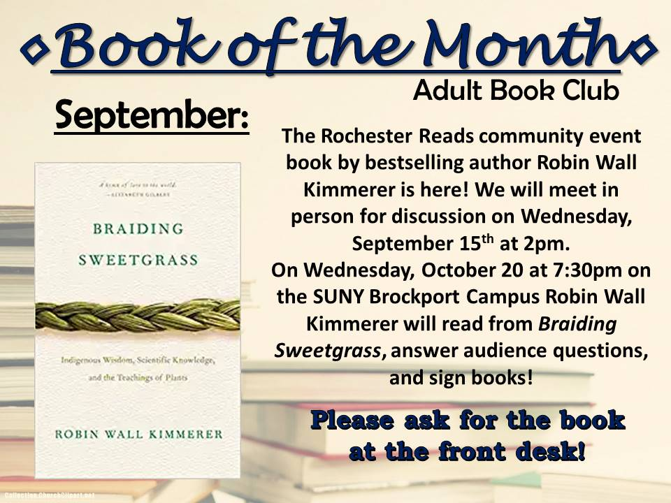 September Adult Book of the Month Book Club - Braiding Sweetgrass
